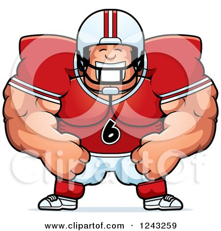 Clipart of a Caucasian Brute Muscular Football Player Man Grinning - Royalty Free Vector Illustration by Cory Thoman