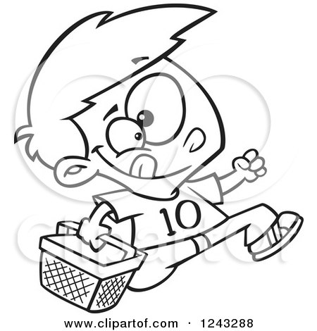 Clipart of a Black and White Cartoon Boy Running with an Easter Basket - Royalty Free Vector Illustration by toonaday