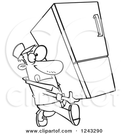 Clipart of a Black and White Cartoon Delivery Man Carrying a Fridge - Royalty Free Vector Illustration by toonaday