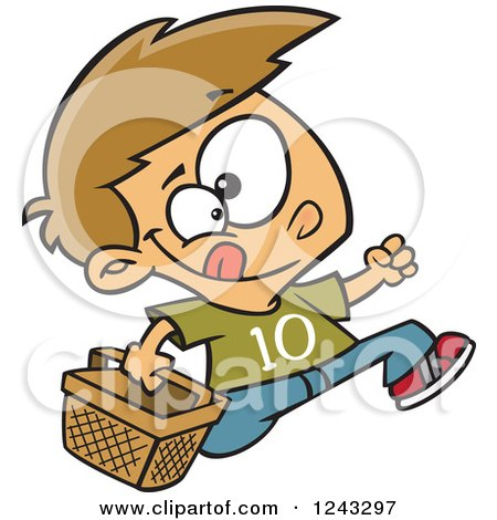 Clipart of a Cartoon Caucasian Boy Running with an Easter Basket - Royalty Free Vector Illustration by toonaday