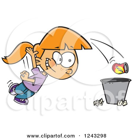 Clipart of a Cartoon Caucasian Girl Tossing Garbage in the Trash - Royalty Free Vector Illustration by toonaday