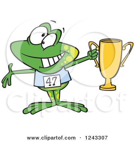 Clipart of a Cartoon Winner Frog Holding up a Trophy - Royalty Free Vector Illustration by toonaday