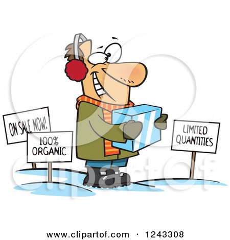 Clipart of a Cartoon Caucasian Man Holding Ice Around Sales Signs - Royalty Free Vector Illustration by toonaday