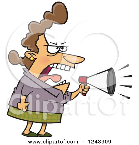 Clipart of a Cartoon Caucasian Woman Boss Mother or Wife Screaming Through a Megaphone - Royalty Free Vector Illustration by toonaday