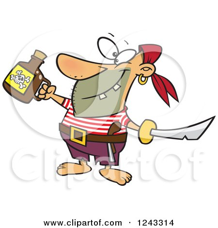 Clipart of a Cartoon Celebrating Pirate with Poison and a Sword - Royalty Free Vector Illustration by toonaday