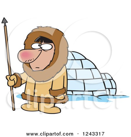 Clipart of a Cartoon Eskimo Hunter Man by an Igloo - Royalty Free Vector Illustration by toonaday