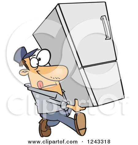 Clipart of a Cartoon Caucasian Delivery Man Carrying a Fridge - Royalty Free Vector Illustration by toonaday