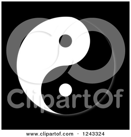 Clipart of a Yin Yang on Black - Royalty Free Illustration by oboy