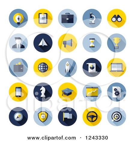Clipart of Round Seo Business Icons - Royalty Free Vector Illustration by elena