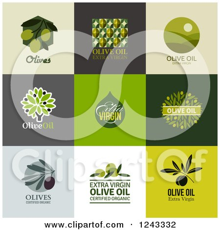 Clipart of Olive and Oil Labels with Text - Royalty Free Vector Illustration by elena