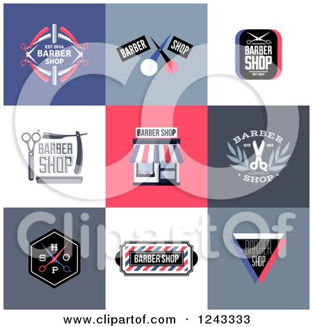 Clipart of Barber Shop Designs and Labels - Royalty Free Vector Illustration by elena