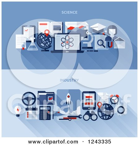 Clipart of Science and Industry Items and Shadows with Text on Blue - Royalty Free Vector Illustration by elena