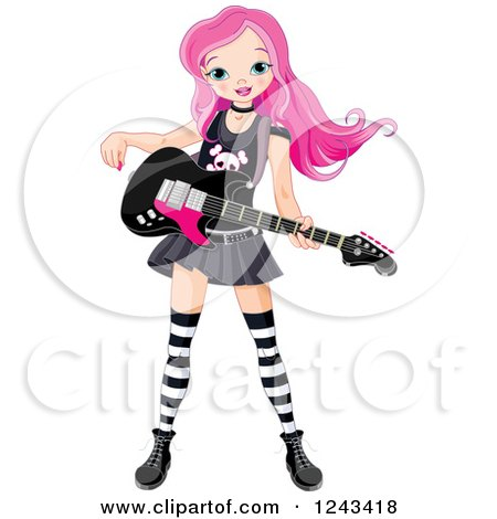 Clipart of a Pink Haired Punk Rocker Girl with a Guitar - Royalty Free Vector Illustration by Pushkin