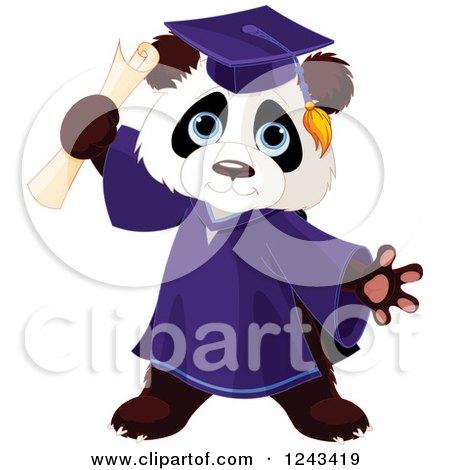 Clipart of a Cute Graduate Panda Holding a Diploma - Royalty Free Vector Illustration by Pushkin