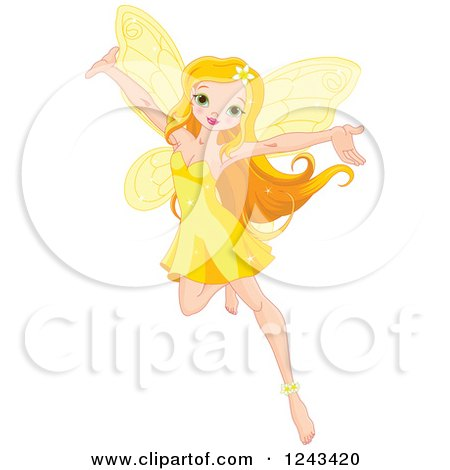 Clipart of a Beautiful Yellow Fairy Holding Her Arms Up - Royalty Free Vector Illustration by Pushkin