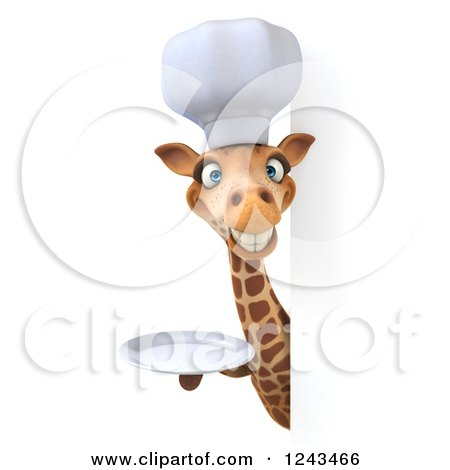 Clipart of a 3d Giraffe Chef Smiling and Holding a Plate Around a Blank Sign - Royalty Free Illustration by Julos