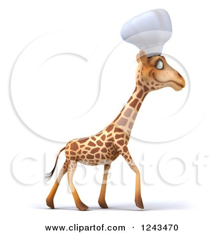 Clipart of a 3d Giraffe Chef Walking - Royalty Free Illustration by Julos