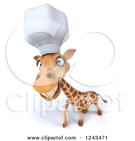 Clipart of a 3d Happy Giraffe Chef - Royalty Free Illustration by Julos