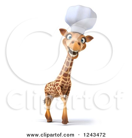 Clipart of a 3d Happy Giraffe Chef with a Big Smile - Royalty Free Illustration by Julos