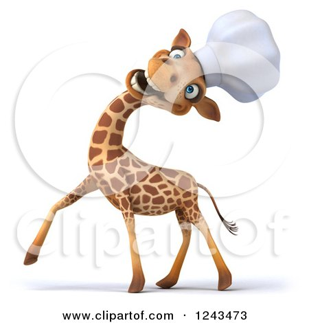 Clipart of a 3d Giraffe Chef Laughing and Tilting His Head Back 2 - Royalty Free Illustration by Julos