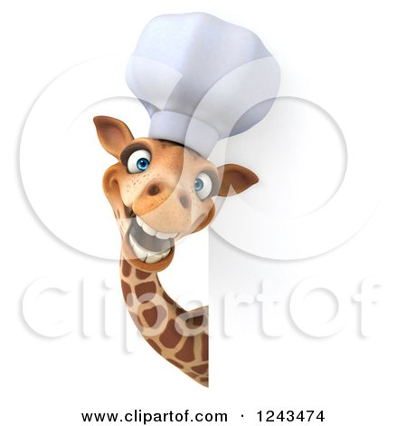 Clipart of a 3d Giraffe Chef Smiling Around a Sign - Royalty Free Illustration by Julos