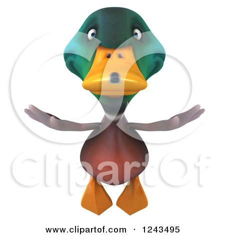 Clipart of a 3d Mallard Drake Duck in Flight - Royalty Free ...