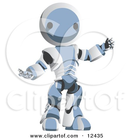 Blue Metal Robot Clipart Illustration by Leo Blanchette