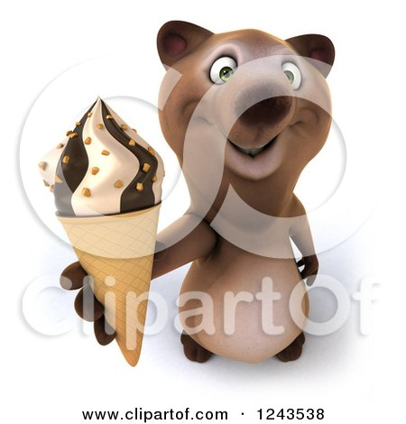Clipart of a 3d Brown Bear Holding up an Ice Cream Cone - Royalty Free Illustration by Julos