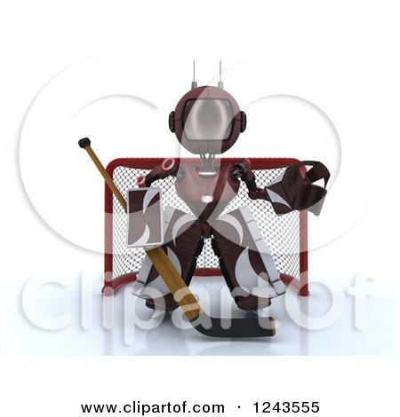 Clipart of a 3d Red Android Robot Hockey Goalie - Royalty Free Illustration by KJ Pargeter