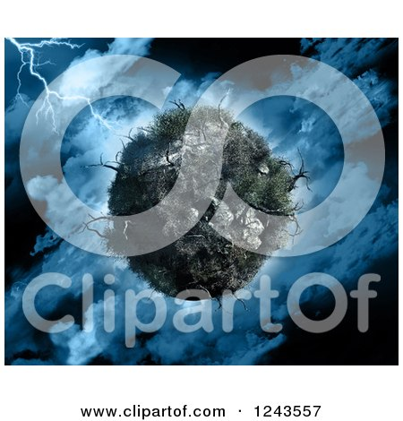 Clipart of a 3d Dying Planet with Dead Trees in a Stormy Sky - Royalty Free Illustration by KJ Pargeter