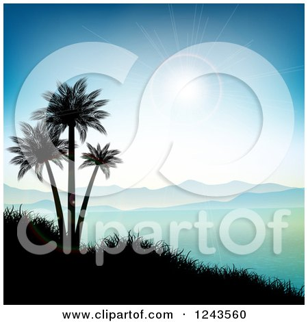 Clipart of a Sun Flare over Mountains, Silhouetted Palm Trees and an Ocean Bay - Royalty Free Vector Illustration by KJ Pargeter