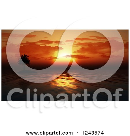 Clipart of a Silhouetted Palm Tree and 3d Orange Ocean Sunset - Royalty Free Illustration by KJ Pargeter