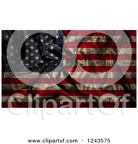 Clipart of a 3d Dark Crumpled American Flag - Royalty Free Illustration by KJ Pargeter