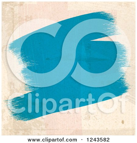 Clipart of Strokes of Blue Paint on a Beige Wall - Royalty Free Vector Illustration by elaineitalia