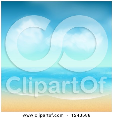 Clipart of a Tropical Beach with White Sand and Blue Skies - Royalty Free Vector Illustration by elaineitalia