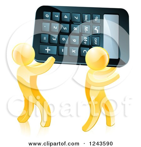 Clipart of Two 3d Gold Men Carrying a Calculator - Royalty Free Vector Illustration by AtStockIllustration