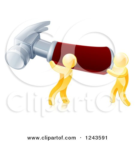 Clipart of Two 3d Gold Men Carrying a Giant Hammer - Royalty Free Vector Illustration by AtStockIllustration