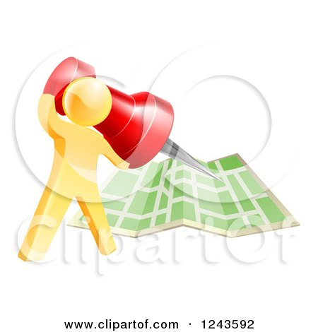 Clipart of a 3d Gold Man Pinning a Location on a Map - Royalty Free Vector Illustration by AtStockIllustration