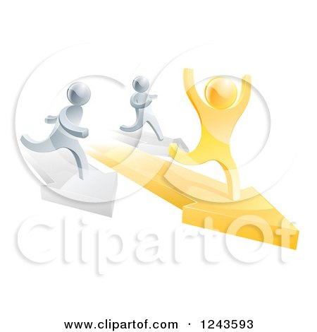 Clipart of a 3d Gold Man Winning a Race on Arrows Against Silver Men - Royalty Free Vector Illustration by AtStockIllustration