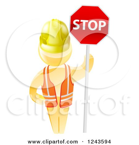 Clipart of a 3d Gold Man Construction Worker Holding a Stop Sign - Royalty Free Vector Illustration by AtStockIllustration