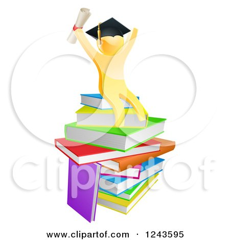 Clipart of a 3d Gold Man Graduate Cheering with a Diploma on Books - Royalty Free Vector Illustration by AtStockIllustration