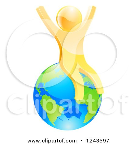 Clipart of a 3d Happy Gold Man Sitting and Cheering on Planet Earth - Royalty Free Vector Illustration by AtStockIllustration