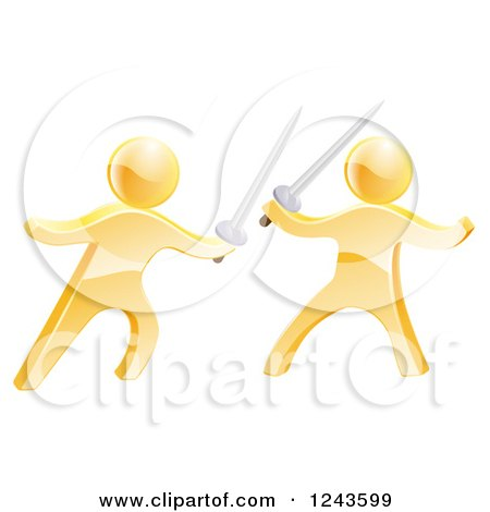 Clipart of 3d Fencing Gold Men Fighting with Swords - Royalty Free Vector Illustration by AtStockIllustration