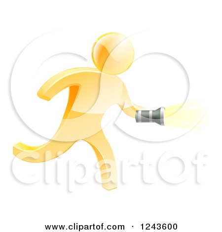 Clipart of a 3d Gold Man Running with a Flashlight - Royalty Free Vector Illustration by AtStockIllustration