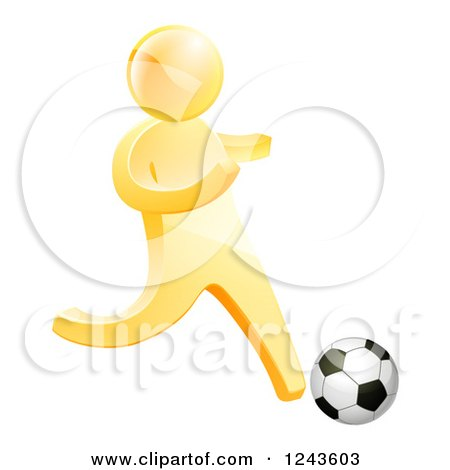 Clipart of a 3d Gold Man Playing Soccer - Royalty Free Vector Illustration by AtStockIllustration