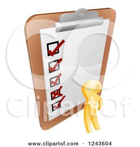 Clipart of a 3d Gold Man Looking at a Giant Survey on a Clipboard - Royalty Free Vector Illustration by AtStockIllustration