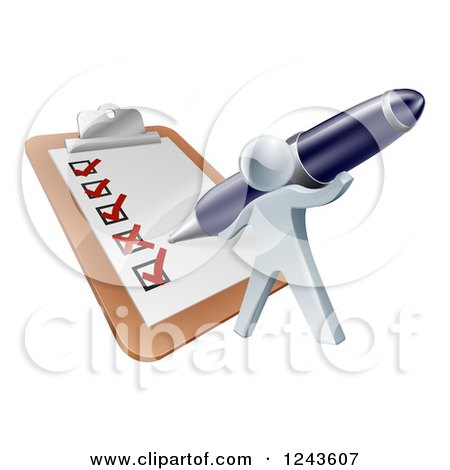 Clipart of a 3d Silver Man Checking off a List on a Giant Clipboard - Royalty Free Vector Illustration by AtStockIllustration