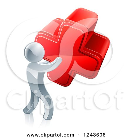 Clipart of a 3d Silver Man Carrying a Red Cross - Royalty Free Vector Illustration by AtStockIllustration