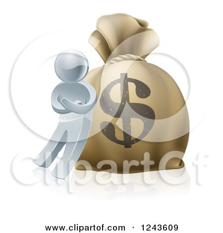 Clipart of a 3d Silver Man Leaning Against a Giant Dollar Money Sack - Royalty Free Vector Illustration by AtStockIllustration