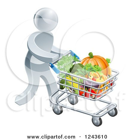Clipart of a 3d Silver Man Pushing a Shopping Cart Full of Produce - Royalty Free Vector Illustration by AtStockIllustration